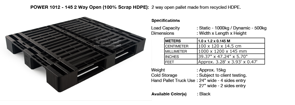 Plastic Pallet Power 1012 - 145 2 way HDPE