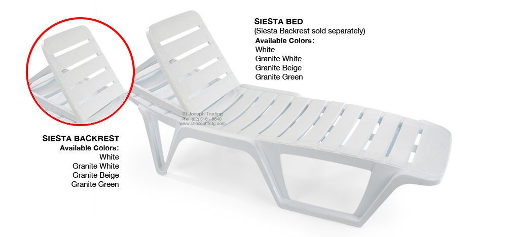 PLASTIC LOUNGER SIESTA BED AND BACKREST