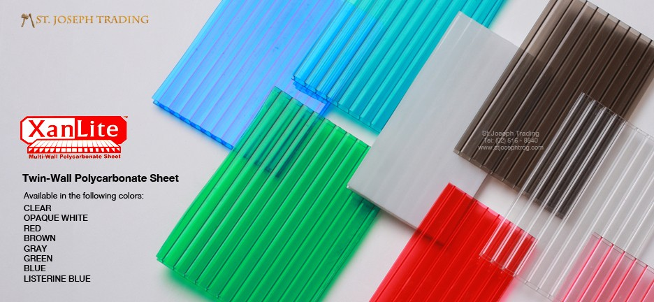 XanLite twin wall polycarbonate sheets and connectors in various colors.